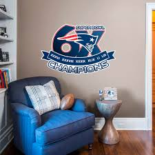 new england patriots 6x super bowl champions logo giant nfl officially licensed removable wall
