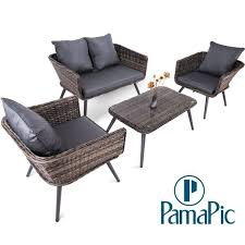 4 pcs rattan patio furniture set pamapic indoor outdoor wicker sectional seat cushioned loveseat