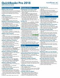 Refference Sheet Quickbooks Pro 2018 Quick Reference Training Guide Laminated Cheat Sheet By Teachucomp Inc 2017