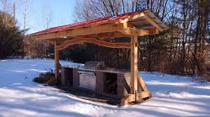 timber frame outdoor kitchen shelter in norwich vt