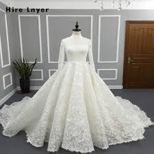 Design A Friend Wedding Dress Us 243 58 13 Off Najowpjg New Design High Neck Long Sleeve Mariage Chapel Train Gorgeous Lace Bride Wedding Dresses 2019 Vestido De Noiva Renda In