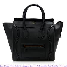 best céline imitation luggage smooth calfskin mini black leather tote celine nano bag