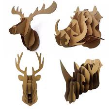 decorative 3d puzzle cardboard animal head wall decoration deer wild hogs rhinoceros head wall