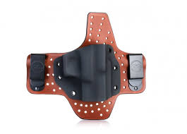 maximum comfort iwb concealed open top leather kydex holster on air flow platform