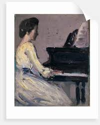 artist s sister at piano by john duncan fergusson