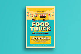Flyer Samples For An Event Interesting Retro Food Truck Event Flyer Flyer Templates Creative Market Pro