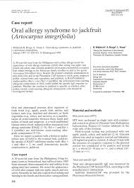 PDF) Oral allergy syndrome to jackfruit (Artocarpus integrifolia)