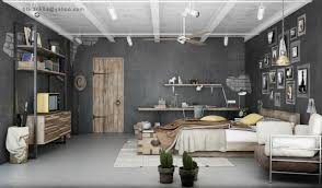 decorating luxury industrial home interior design idea for bedroom with brown bed gray wall and brown door alluring industrial home interior design ideas alluring home bedroom design ideas black