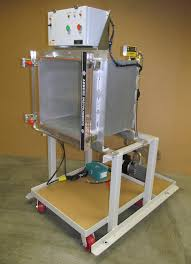 aluminum cube chamber with clear acrylic door equipped with a digital vacuum cycle control system