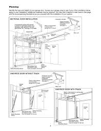 Chamberlain Technical Support Planning One Piece Door Without Track One Piece Door With
