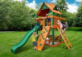 Lowes Wooden Swing Sets | Gorilla Playsets Landing Wooden Swing Set |  Gorilla Playsets