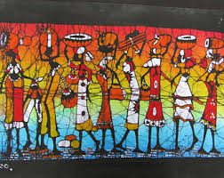 african village people carrying on head african paintings batik painting gift for mom gift for dad gift for wife gift for husband on african woman wall art with african painting etsy