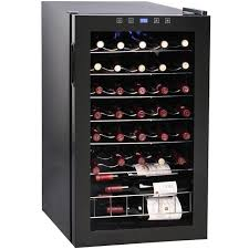 vinotemp 34 bottle touchscreen wine cooler glass door black cabinet vt 34