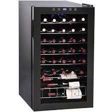 vinotemp 34 bottle touchscreen wine cooler glass door black cabinet vt 34
