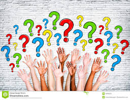 multi ethnic arms outstretched to ask questions stock photo multi ethnic arms outstretched to ask questions