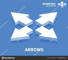 Web Design Arrows Arrows Icon Isometric Template For Web Design In Flat 3d