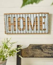 corrugated metal and wood wall signs rustic decor vintage flair abstract art