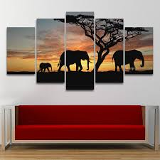 5 panel painting canvas wall art african elephant scenery landscape modular picture hd print artwork for on african elephant canvas wall art with 5 panel painting canvas wall art african elephant scenery landscape