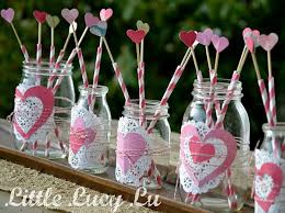Glass Jar Table Decorations 100 Valentines Day Craft Ideas Made with Mason Jars 71