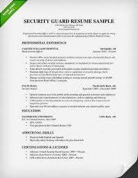 Security Guard Resume Sample 2015 Good Resume Examples