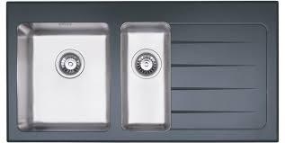 dane 1 5 bowl black glass stainless steel sink