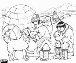 Kleurplaat De Eskimo In De Buurt Van Hun Iglo Kleurplaten