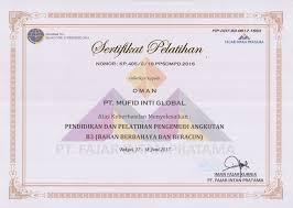 Sertifikat Pelatihan Sertifikat Pt Mufid Inti Global