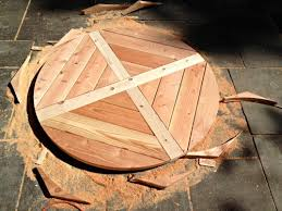cutting tabletop into a circle planked circular dining table underside view