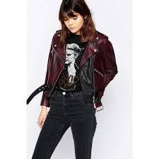 womens belted moto leather jacket women distressed jacket