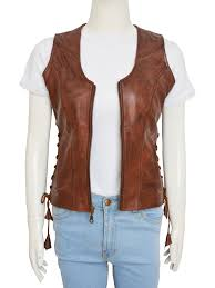 women vest women brown leather vest