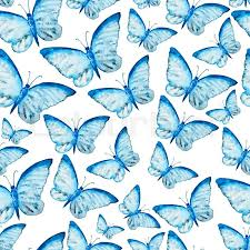 Butterfly Pattern Mesmerizing Seamless Watercolor Pattern With Blue Butterfly Vintage Seamless