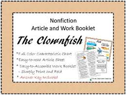 Nonfiction Article Sheet And Work Booklet The Clownfish