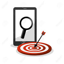 idea office supplies. Smartphone Target And Lupe Icon. Office Work Idea Supplies Theme. Colorful Design. L