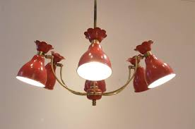 mid century modern mid century french design red metal diffusers chandelier pendant lamp for
