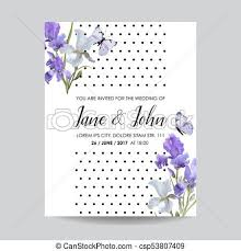 Save The Date Card With Iris Flowers And Butterflies Floral Wedding Invitation Template Botanical Design For Greeting Cards Vector Illustration
