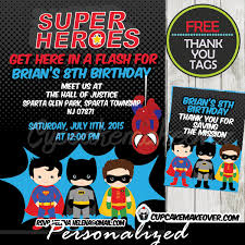 superheroes birthday party invitations superhero birthday invitation choose your superheroes personalized