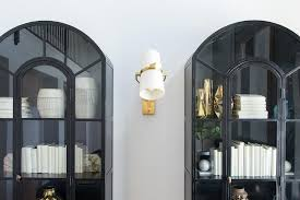 black arch display cabinets with glass