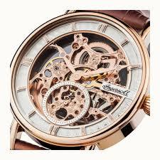 ingersoll i00401 the herald men s watch open dial and date ingersoll the herald i00401 men s watch rose colored machine openwork