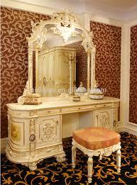 Makeup Vanity Desk Bedroom Furniture Luxury French Rococo Bedroom Furniture Dresser Table Mirror