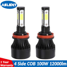 <b>Aslent</b> 4 Side Lumens COB 100W 12000lm LED Bulb H4 <b>H7</b> H11 ...
