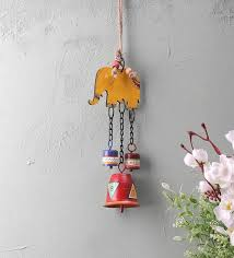 yellow elephant wall hanging bell