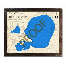 Lake Weir Fl Wood Map 3d Topographic Wood Chart
