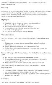 Resume Templates: Airline Reservation Agent