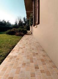 exterior design with green gardening yard corridor tan subway floor tiles outdoor porcelain stoneware furnitures decorations