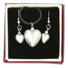 venetian reflections puffed heart necklace and earrings set silver