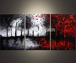 hand painted oil wall art abstract black white and red paintings 3 piece modern tree canvas picture living room decoration set in painting calligraphy  on red black white wall art with hand painted oil wall art abstract black white and red paintings 3