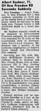 1956 Albert Kashner 71 of New Freedom PA death - Newspapers.com