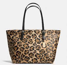 Coach Turnlock Tote In Wild Beast Print Leather Light Gold Leopard