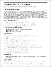 Sample Resume Format For Domestic Helper