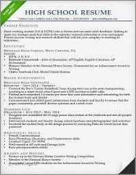 Resume Template For High School Student Inspirational Resume Sample